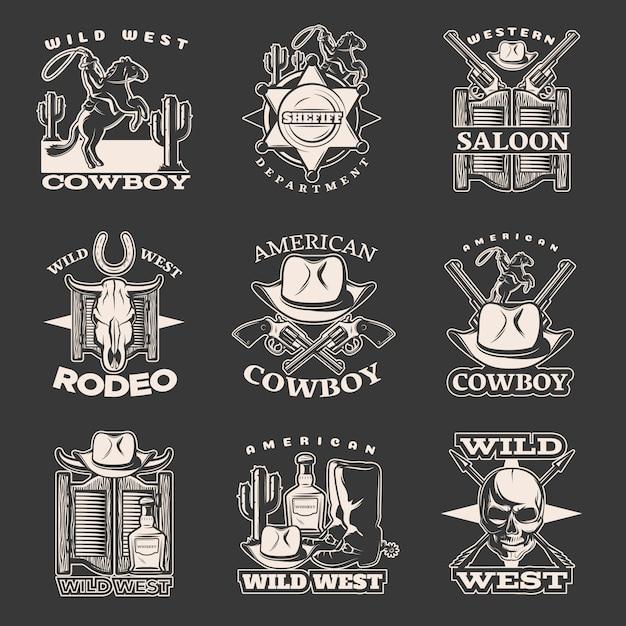 Geïsoleerde witte wilde westen embleem ingesteld op donker met sheriff afdeling western saloon amerikaanse cowboy beschrijvingen Gratis Vector
