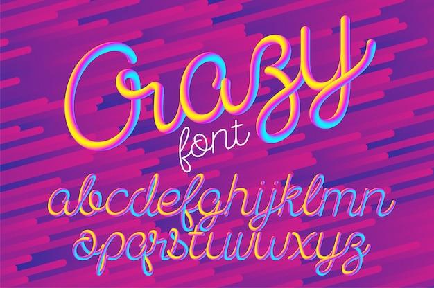 Gekke kleur 3d-alfabet lettertype Premium Vector