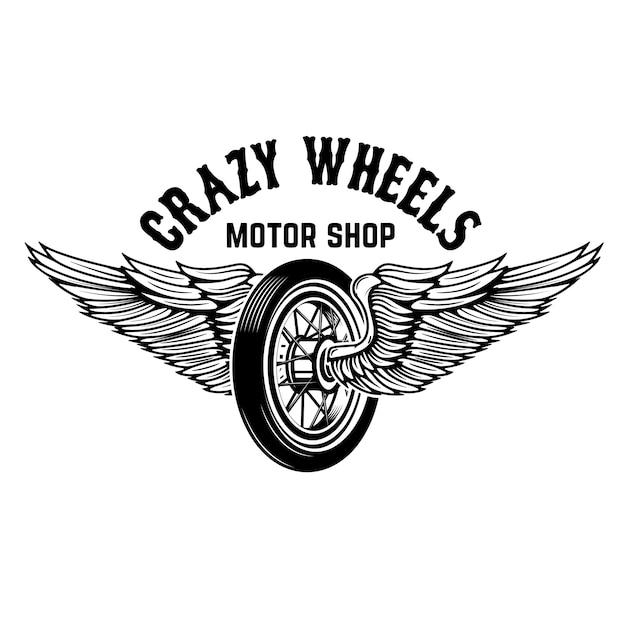 Gekke wielen. motorfietswiel met vleugels op witte achtergrond. elementen voor logo, label, embleem, teken. illustratie Premium Vector