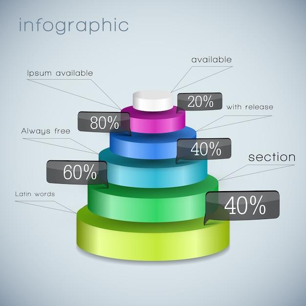 Gekleurd driedimensionaal piramidesjabloon met geselecteerde elementen van verschillende groottes Gratis Vector