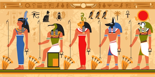 Gekleurd grenspatroon op het thema van egypte Gratis Vector