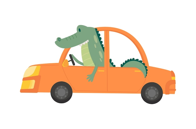 Gekleurd kindertransport met schattige kleine krokodil. Premium Vector