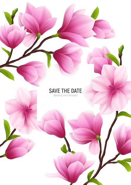 Gekleurd realistisch magnolia bloemkader met sparen de datumkop en delicate roze bloemen Gratis Vector