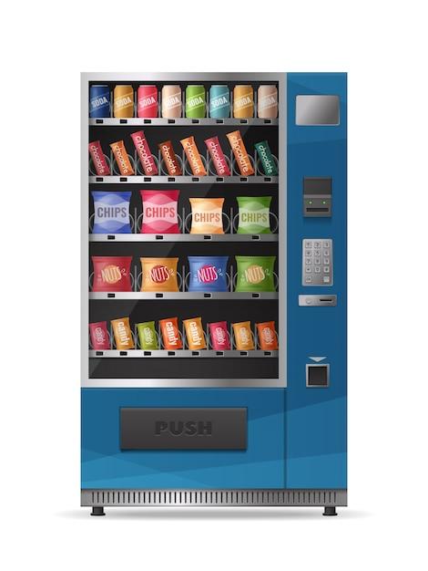 Gekleurd realistisch ontwerp van geïsoleerde snacksautomaat met elektronisch controlebord Gratis Vector