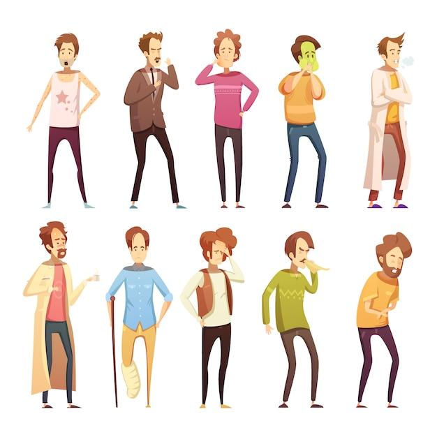 Gekleurd retro beeldverhaalpictogram van de ziekteman geplaatst met verschillende stijlen en leeftijdenmensen vectorillustratio Gratis Vector