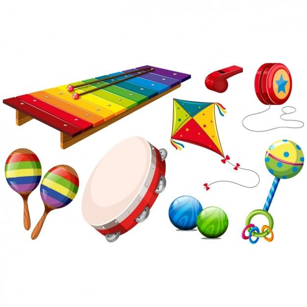 Gekleurd speelgoed collectie Premium Vector