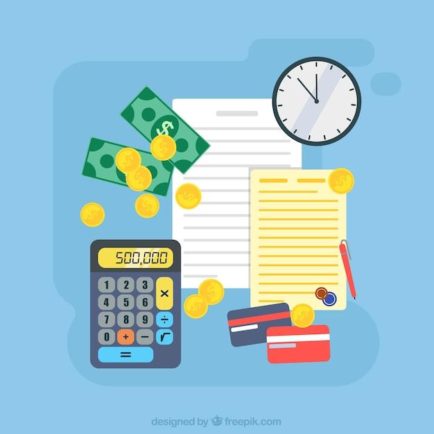 Gekleurde achtergrond met geld en documenten Gratis Vector
