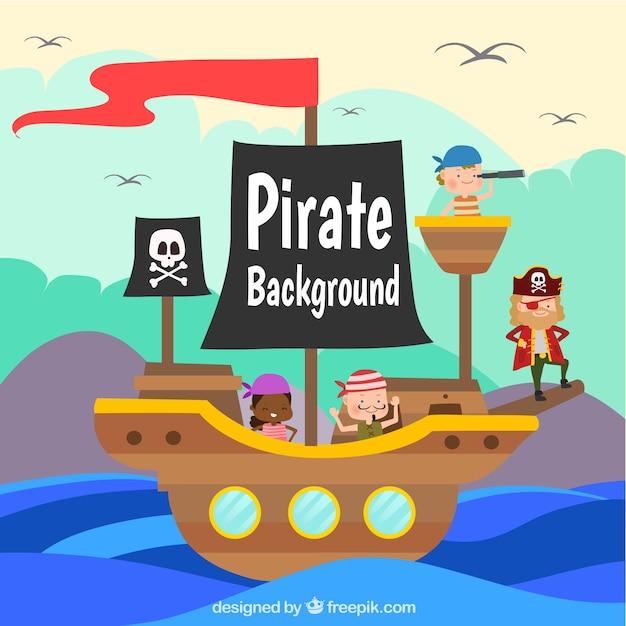 Gekleurde achtergrond met schip en piraten Gratis Vector