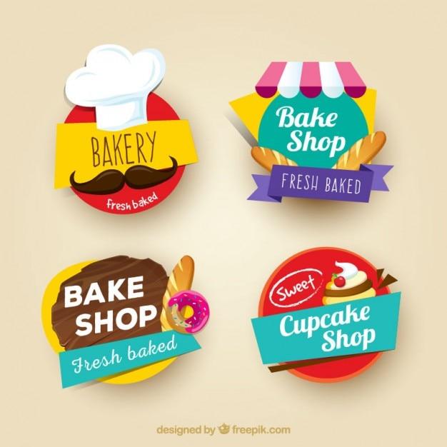 Gekleurde bakkerij stickers set Gratis Vector