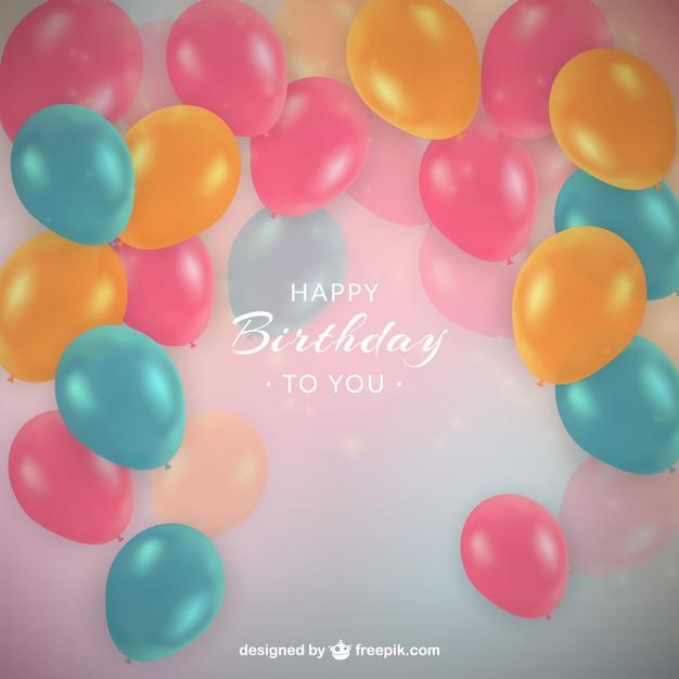 Gekleurde Ballonnen Verjaardag Achtergrond In Realistische Stijl