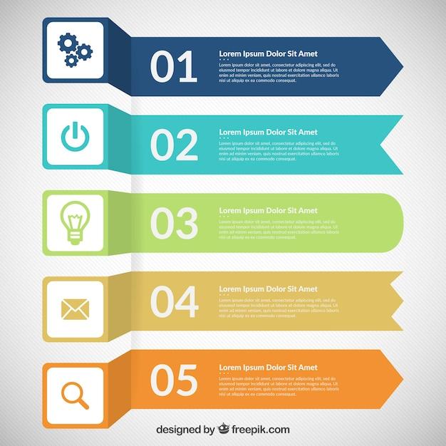 Gekleurde banners infographic Gratis Vector
