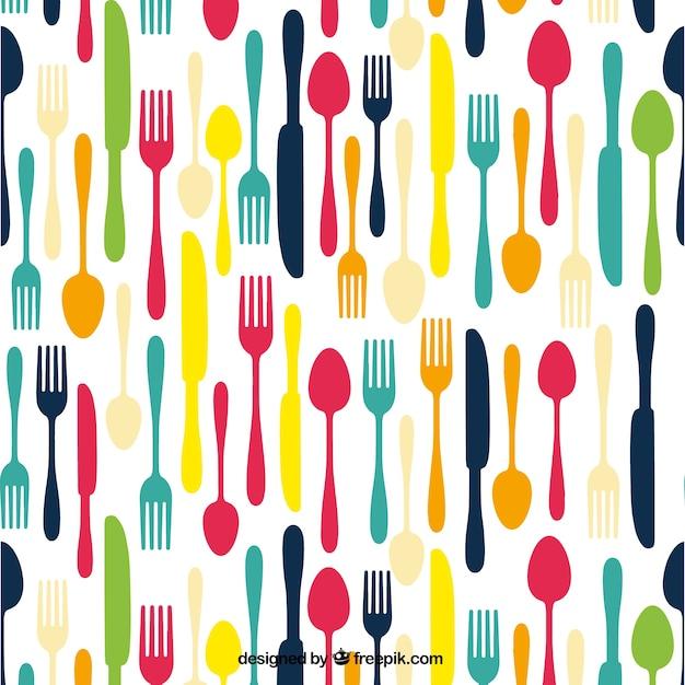 Gekleurde bestek achtergrond vector gratis download for Utensilios de cocina fondo