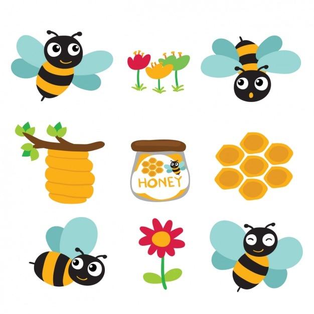 Gekleurde bijen en honing ontwerpen Gratis Vector
