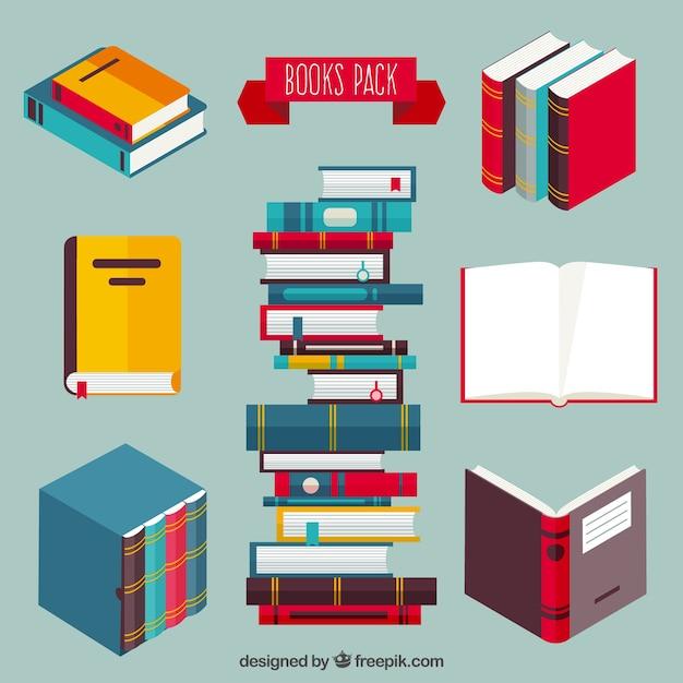 Gekleurde boeken inpakken Gratis Vector