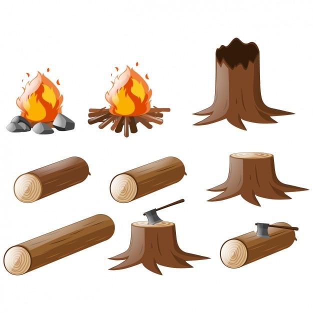 Gekleurde boomstammen collectie Gratis Vector