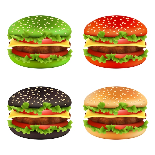 Gekleurde burgers, brood van de fast-food het zwarte cheeseburger van verschillende kleuren en van de ingrediëntenrundvlees van de maaltijdfrites heerlijke het voedselvector Premium Vector