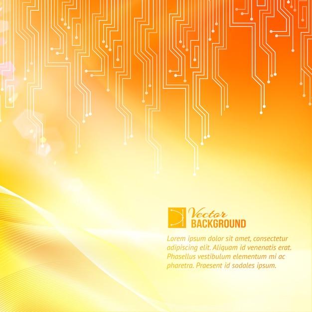 Gekleurde circuit abstractie achtergrond met voorbeeldtekstsjabloon Gratis Vector