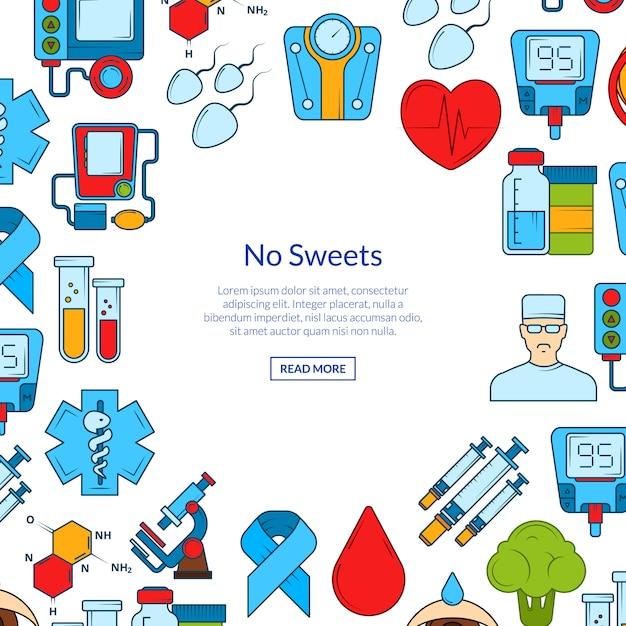 Gekleurde diabetes pictogrammen banner set Premium Vector