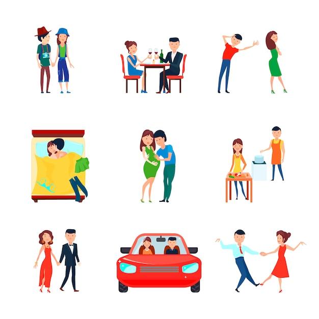 Gekleurde en geïsoleerde echtgenoten echtgenoot verantwoordelijkheden pictogrammenset met verliefde paar is verantwoordelijk Gratis Vector