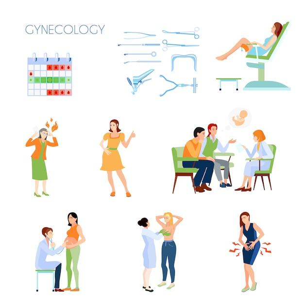 Gekleurde en geïsoleerde gynaecologie platte pictogrammenset met instrumenten attributen geboorteregeling met een arts Gratis Vector