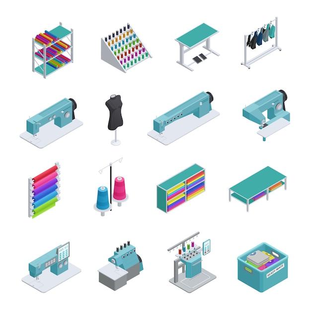 Gekleurde en geïsoleerde kleding fabriek isometrische icon set machines naaimachines kledingstuk manufacturi Gratis Vector