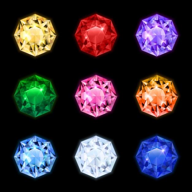 Gekleurde en geïsoleerde realistische diamant edelsteen pictogrammenset in ronde vormen en verschillende kleuren Gratis Vector