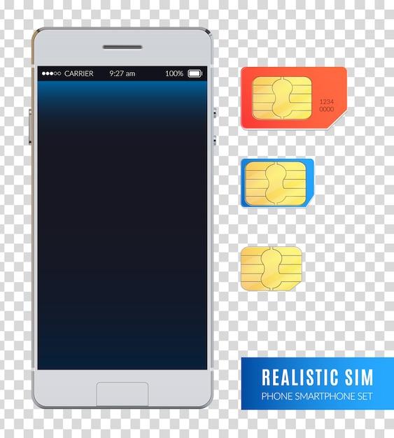 Gekleurde en realistische sim telefoon smartphone icon set met verschillende maten van sim-kaarten voor apparaat illustratie Gratis Vector