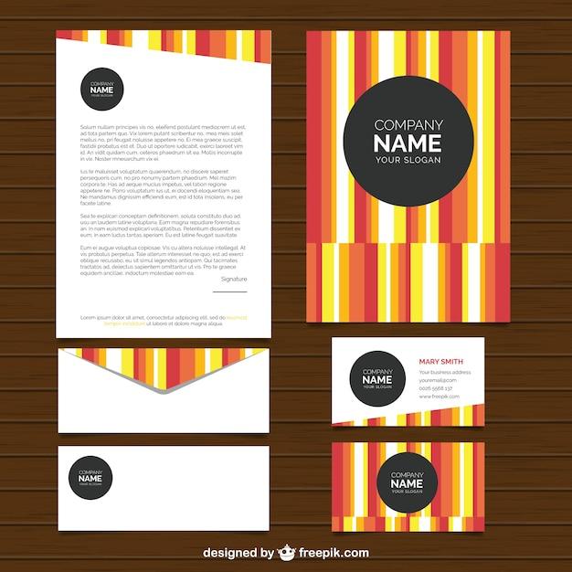 Gekleurde gestreepte zakelijke briefpapier Gratis Vector