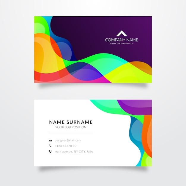 Gekleurde golven sjabloon voor visitekaartje Gratis Vector