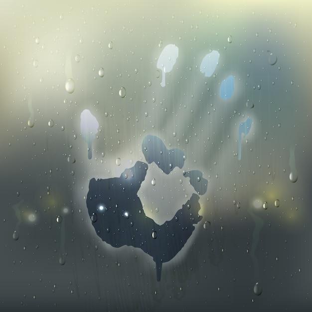 Gekleurde hand op misted glas realistische samenstelling met regenvlekken en handprint op het venster Gratis Vector