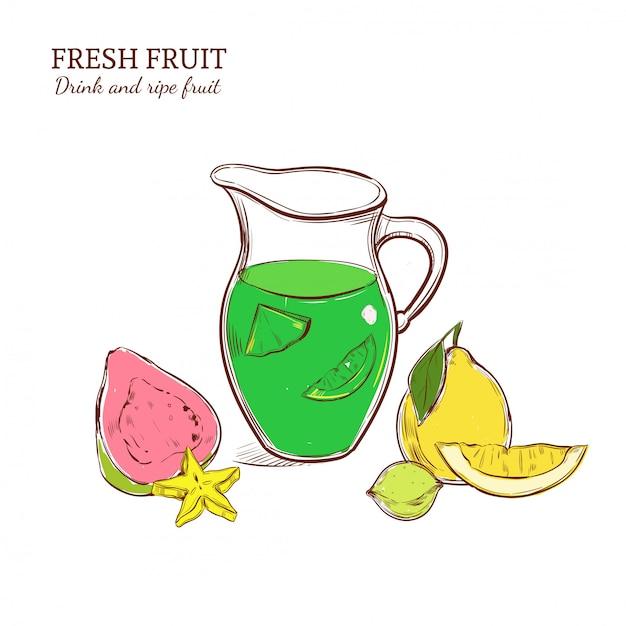 Gekleurde handgetekende exotische limonade concept Gratis Vector