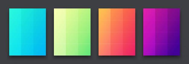 Gekleurde heldere posters aan de muur Premium Vector