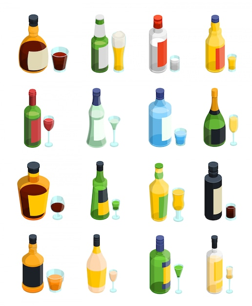 Gekleurde isometrische alcohol icon set Gratis Vector