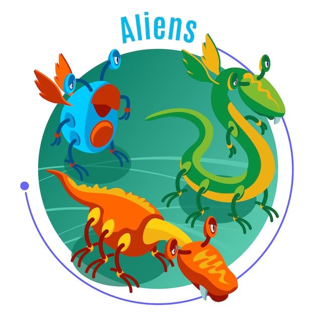 Gekleurde isometrische aliens achtergrond met blauwe kop en drie verschillende monsters illustratie Gratis Vector
