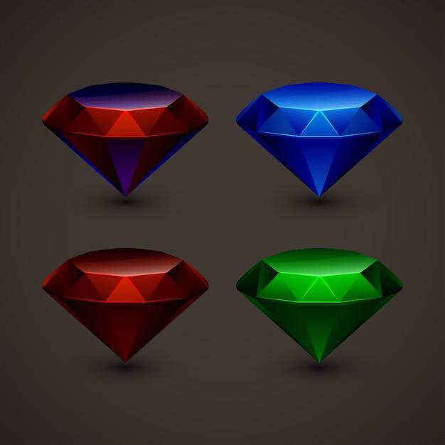 Gekleurde juwelen in set Premium Vector