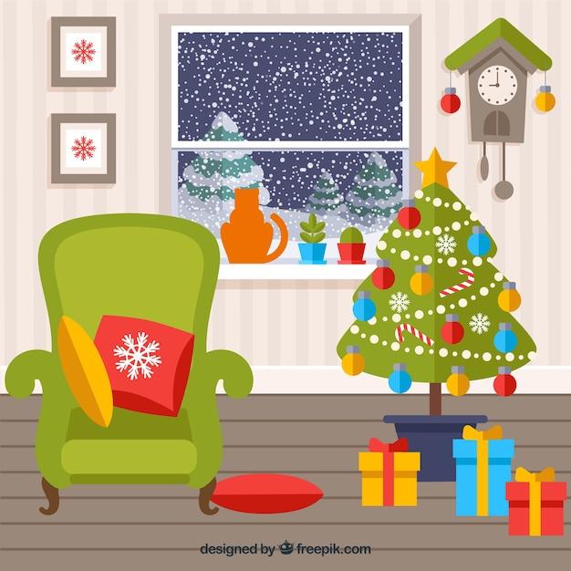 Gekleurde kerst woonkamer Vector | Gratis Download