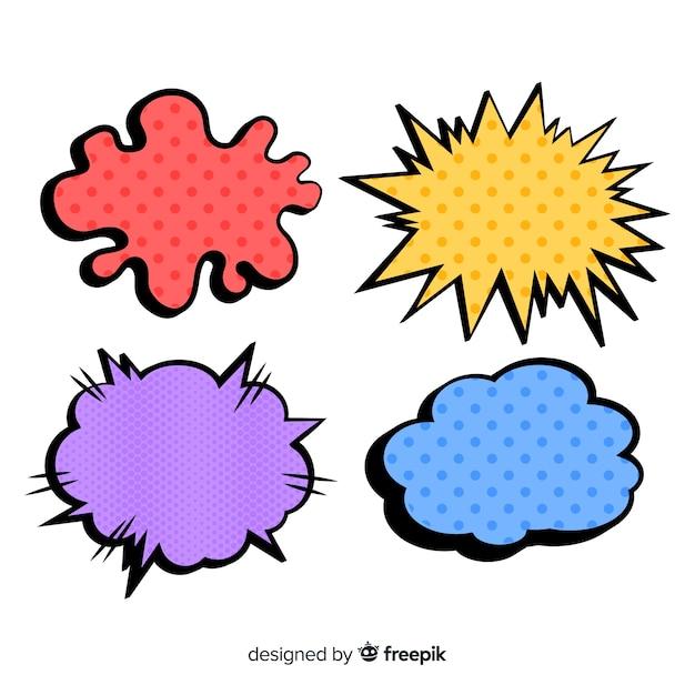 Gekleurde komische tekstballonnen met vormdiversiteit Gratis Vector