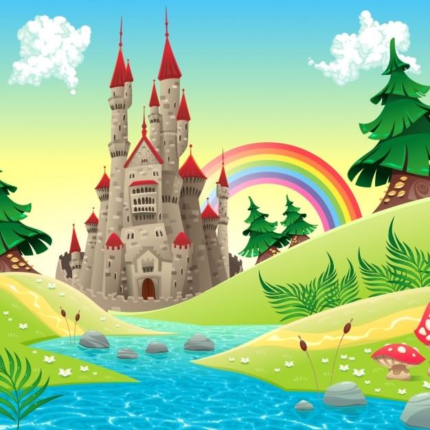 Gekleurde landschap achtergrond Gratis Vector