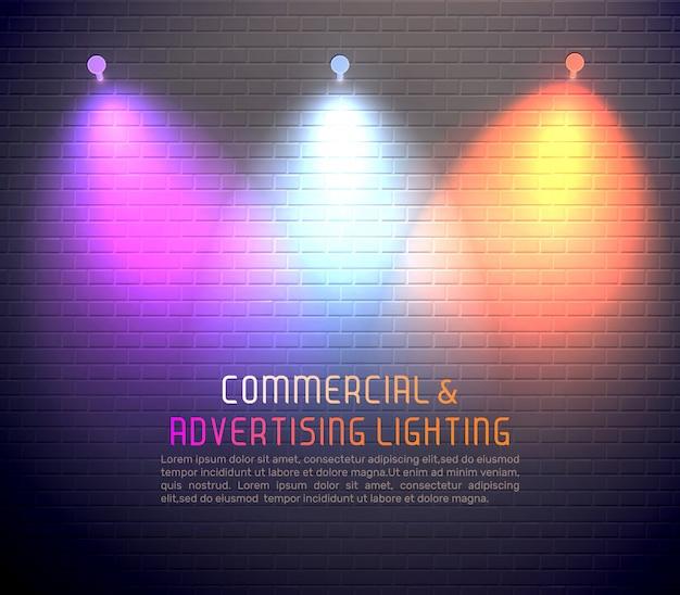 Gekleurde lichteffecten sjabloon Gratis Vector