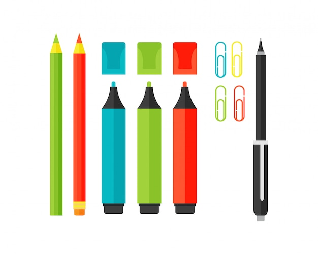 Gekleurde marker school levering markeerstiften vector illustratie. Premium Vector
