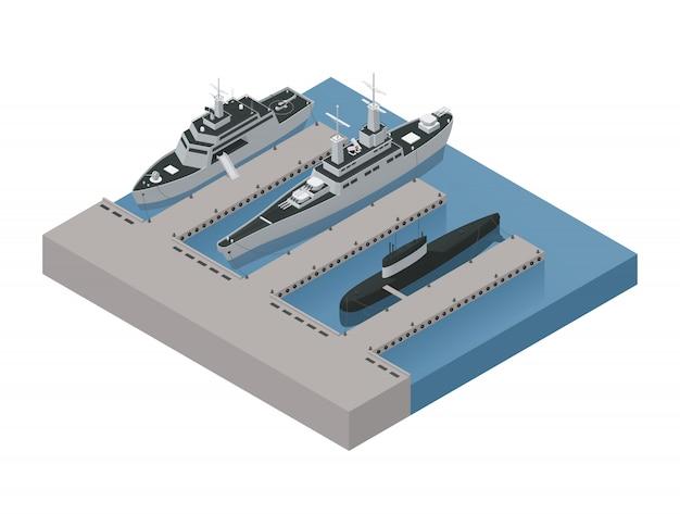 Gekleurde militaire boten isometrische 3d samenstelling met schepen die dichtbij de kust vectorillustratie worden vastgelegd Gratis Vector