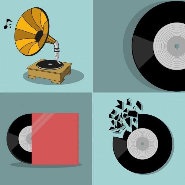 Gekleurde muziek elementen Gratis Vector