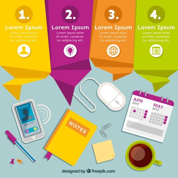 Gekleurde origami banners met op de werkplek infographic Gratis Vector