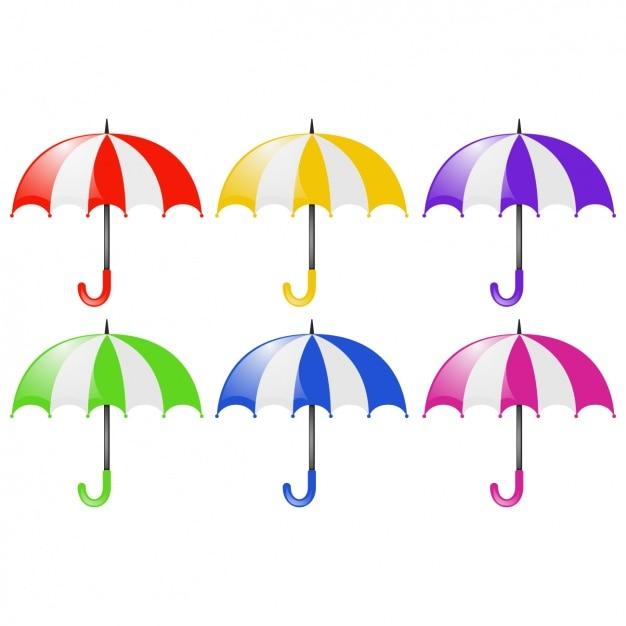 Gekleurde paraplu's verzameling Gratis Vector