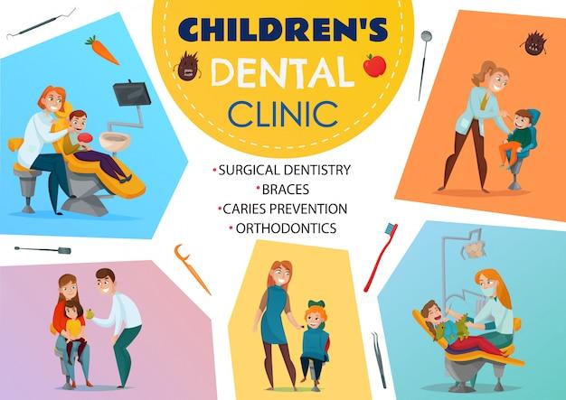 Gekleurde pediatrische tandheelkunde poster kinderen tandheelkundige kliniek orthodontie beugels chirurgische tandheelkunde cariës preventie Gratis Vector