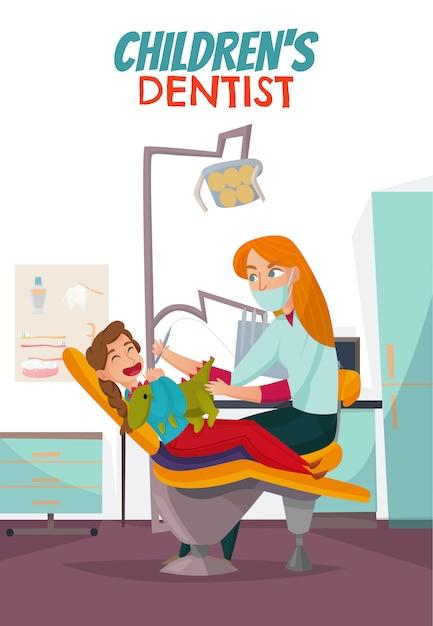 Gekleurde pediatrische tandheelkundesamenstelling met kinderen Gratis Vector