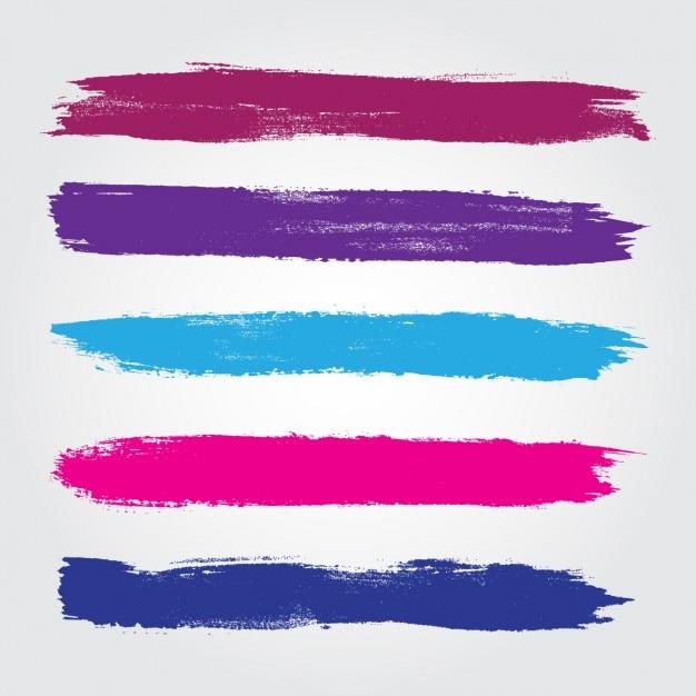 Gekleurde penseelstreken collectie Gratis Vector