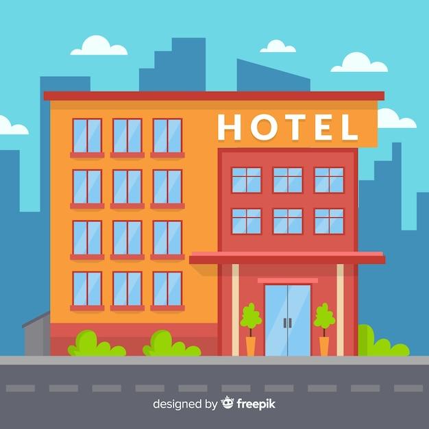 Gekleurde platte design hotelgebouw Gratis Vector