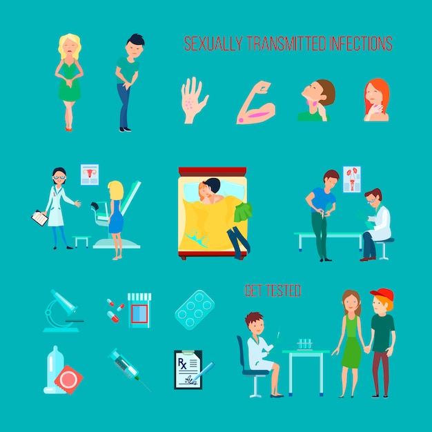 Gekleurde platte en geïsoleerde seksuele gezondheid ziekten pictogrammenset met verschillende infecties symptomen Gratis Vector