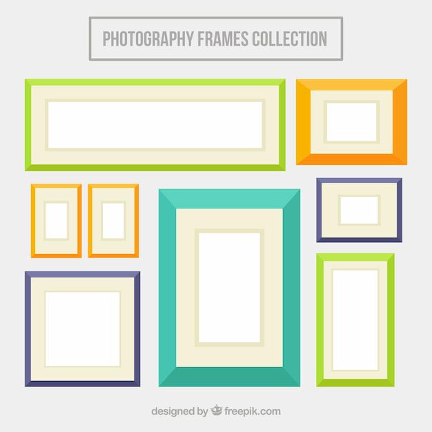 gekleurde platte fotolijsten vector gratis download. Black Bedroom Furniture Sets. Home Design Ideas